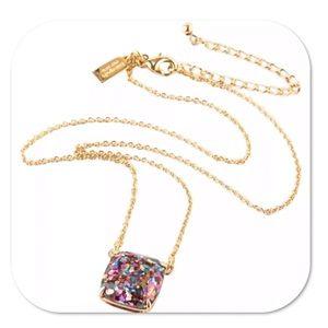 Kate Spade Multi Glitter Square Pendant Necklace